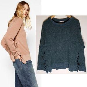 Zara Green Ruffled Side Slit Sweater Large